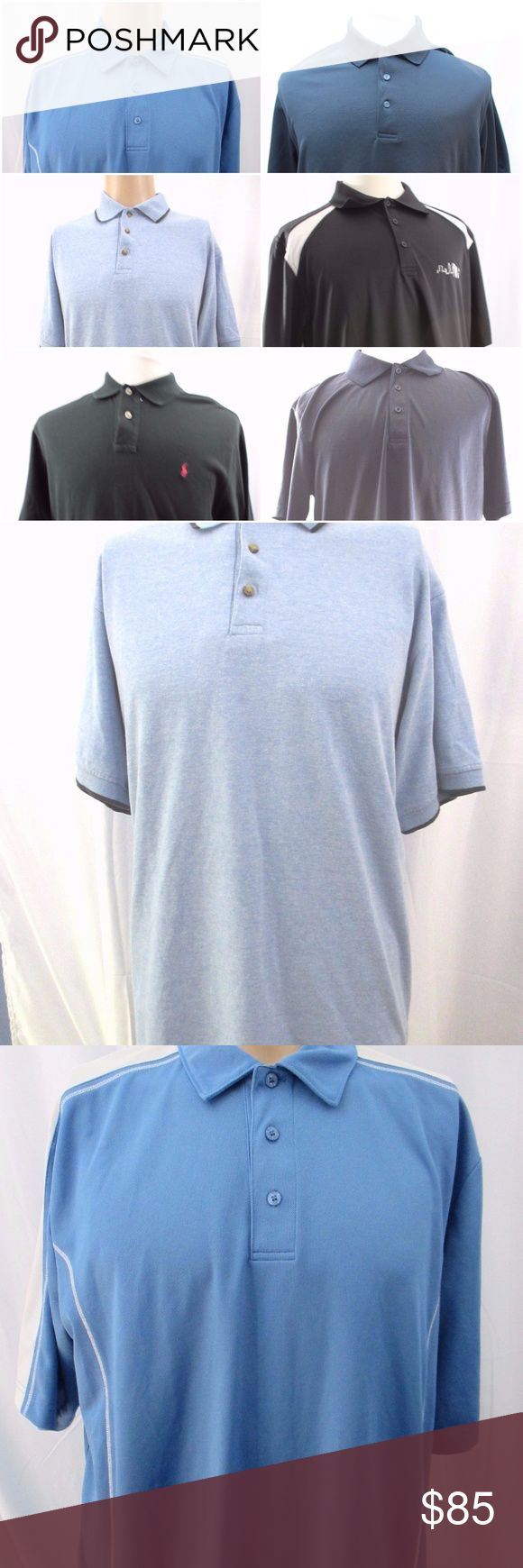 Mens Polo Golf Shirts Lot of 6 Size Large Lot of 6 Mens Golf Polo Shirts  Short Sleeve 3 Button Placket  Good preowned condition  Allegheny Trail Blue Short Sleeve  Short Sleeve Blue Extreme Dry Polyester 3 Button Golf Polo Ralph Lauren Shirt Short Sleeve Shirt Black Ben Hogan Performance Polo Golf Shirt Black Short Sleeve  Harriton Short Sleeve Shirt Black Three Button Placket Polyester  Short Sleeve Shirt Black White Three Button Placket Ralph Lauren Ben Hogan Harriton Allegheny Trail…