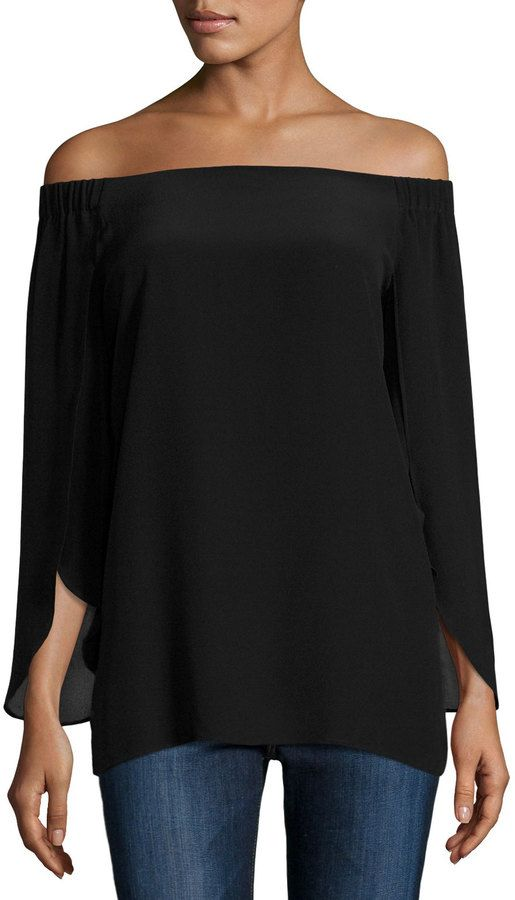 Bailey 44 Trainspot Off-the-Shoulder Top, Black