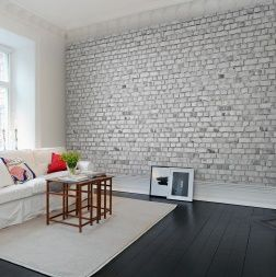 Wallpaper picturing white bricks gives your home a sturdy but bright impression. Brick Wall mural wallpaper suits your kitchen or your living room perfectly.
