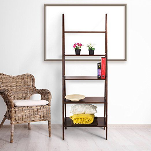 Lyss 5 Tier Corner Ladder Bookcase Shelf In White Finish