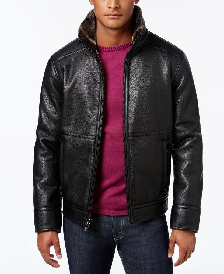 Calvin Klein Men's Pebble Faux-Leather Jacket with Faux Fur Lining