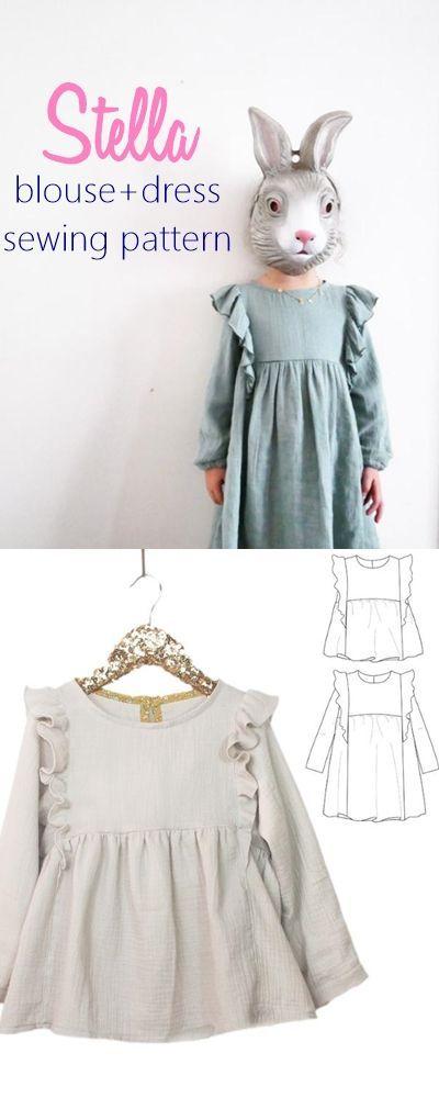 Stella DUO Blouse & Dress - Girl 3/12 (affiliate link) dress patterns for girls