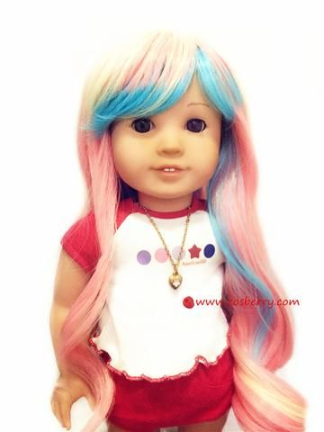 Beautiful colorful doll wig for American girl doll  11-12 inch/28-30cm DW006-blound top-W