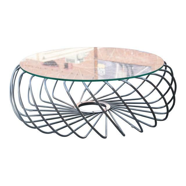 Image Of Spiraling Steel And Glass Top Coffee Table