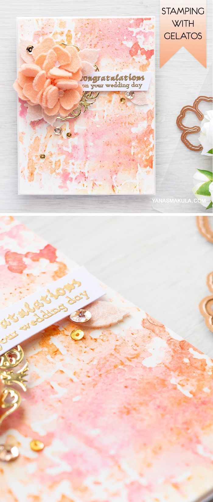 Create a beautiful mixed media background for your next card using embossing folder and gelatos!  For details and video tutorial, visit http://www.yanasmakula.com/?p=54370