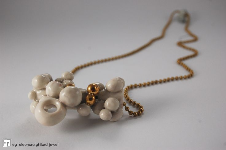 NECKLACE PORCELAIN, GOLD, BRASS, HANDMADE UNIQUE