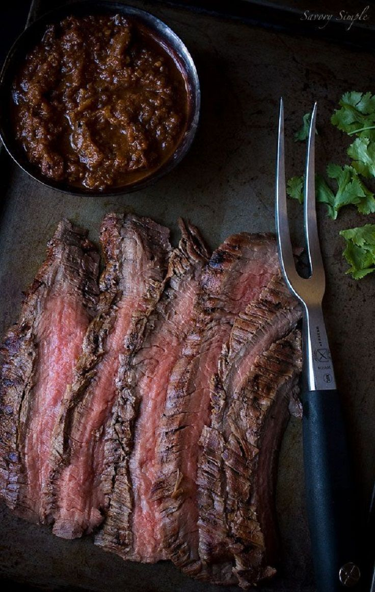 Cumin Marinated Grilled Flank Steak with Salsa
