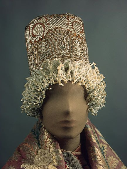 Russia, Tver Province, woman's headdress, made of velvet, mother-of-pearl, glass beads and metal thread; braiding and embroidery, 19th century.