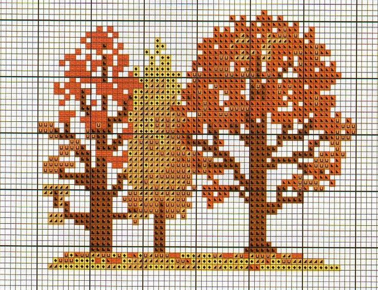 Fall woodland theme trees cross stitch
