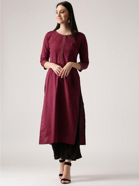 ec0606cb8 Buy Libas Women Maroon Solid Straight Kurta - Kurtas for Women 2229835