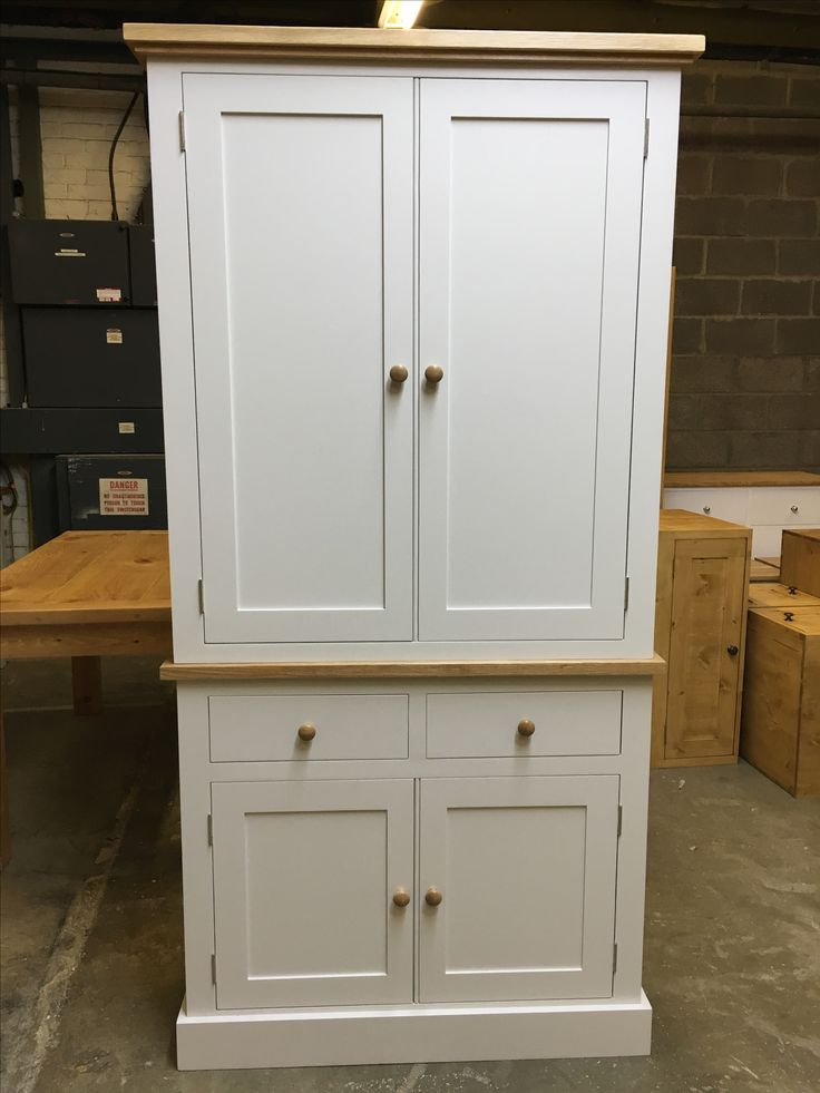 Beautiful Larder painted F&B Skimming Stone with oak tops and knobs. CAN BE ANY SIZE OR COLOUR! Cobwebs Furniture Copany.