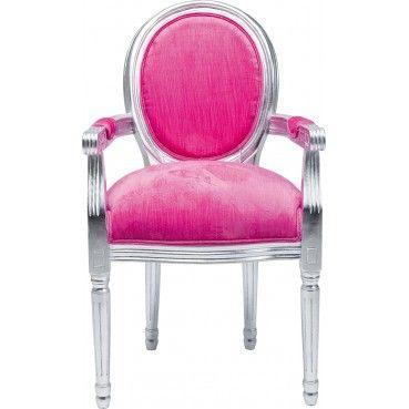 Un #fauteuil baroque très glamour avec une couleur #rose associée à une structure en bois argentée. Idéal pour apporter une touche de #couleur à votre intérieur. Fauteuil #Baroque Louis Silver Leaf rose Kare #Design