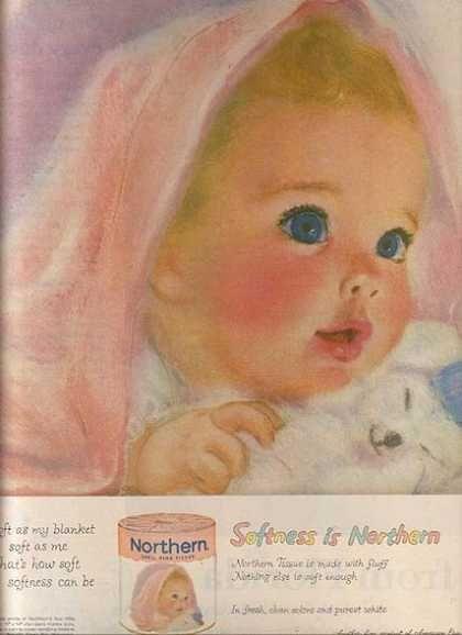 Vintage, vintage ad, vintage advertisement, nostalgia, Northern tissue, pink, 1960