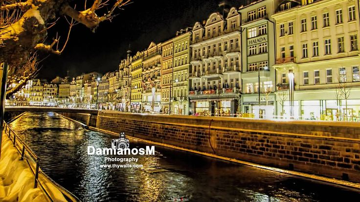 Karlovy Vary Tepla River Winter night