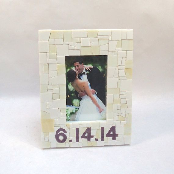 Custom 4x6 Mosaic Wedding Date Frame in White and by LiveInMosaics. Perfect wedding gift for a bride. Also can be used to mark date of a newborn baby.