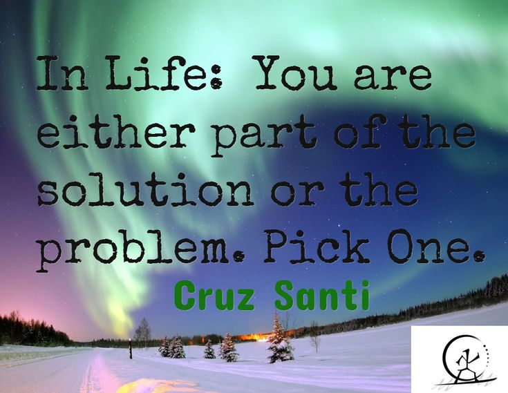In Life:  You are either part of the solution or the problem. Pick One.   / Cruz Santi