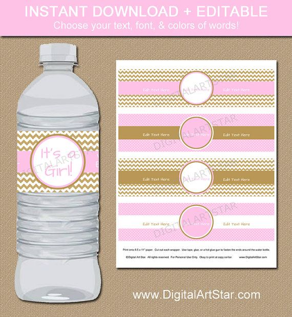 Pink & Gold Baby Shower Water Bottle Labels – EDITABLE Printable Girl Baby Shower Water Labels – Bri