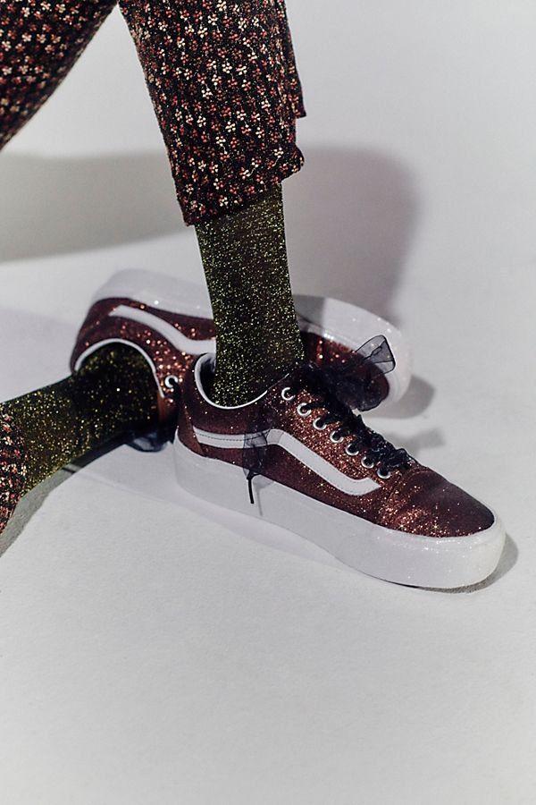 99ee2f65c84f Old Skool Glitter Platform Sneaker - Red Glitter Sneakers - Glitter Vans -  Vans Lace Up Sneakers - Red Vans - Maroon Vans - Sparkly Sneakers - Glitter  ...