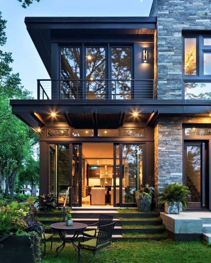 Metal wood and stone contemporary w dark trim.