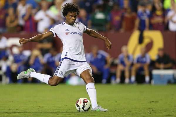 Loic Remy #18 of Chelsea scores the game-winning goal in a penalty shootout against the Barcelona during the International Champions Cup North America at FedExField on July 28, 2015 in Landover, Maryland. Chelsea won in a penalty shootout.