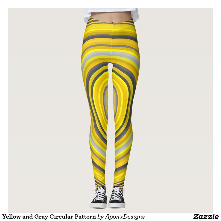 Yellow and Gray Circular Pattern Leggings