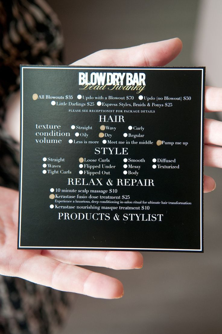 menu idea Blow Dry Bar. http://issuu.com/3wmagazine/docs/tl_vol2iss4_issuu_preset_5af53876ba4020/12