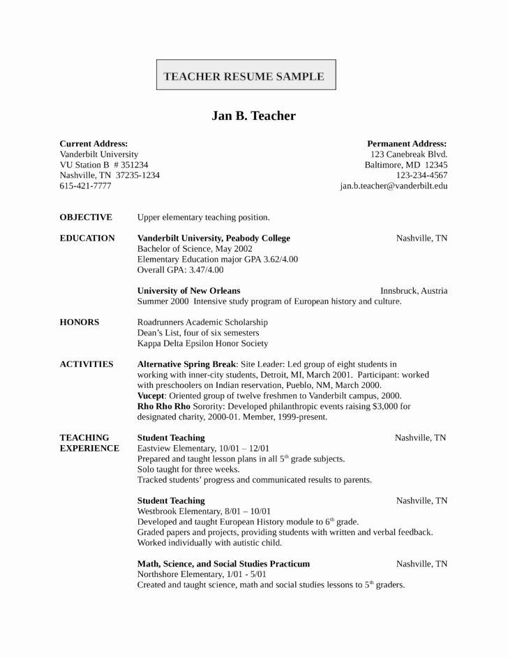 Entry Level Teacher Resume Inspirational Entry Level Freshers Teacher Resume Template Teaching Resume Elementary Teacher Resume Teacher Resume Template