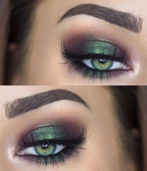 Metallic green eye makeup for green eyes