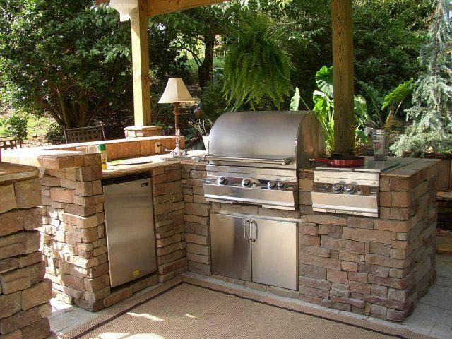 Barbecue Sur Terrasse #7: Barbecue Fixe Fonctionnel Et Esthétique Dans Le Jardin Moderne