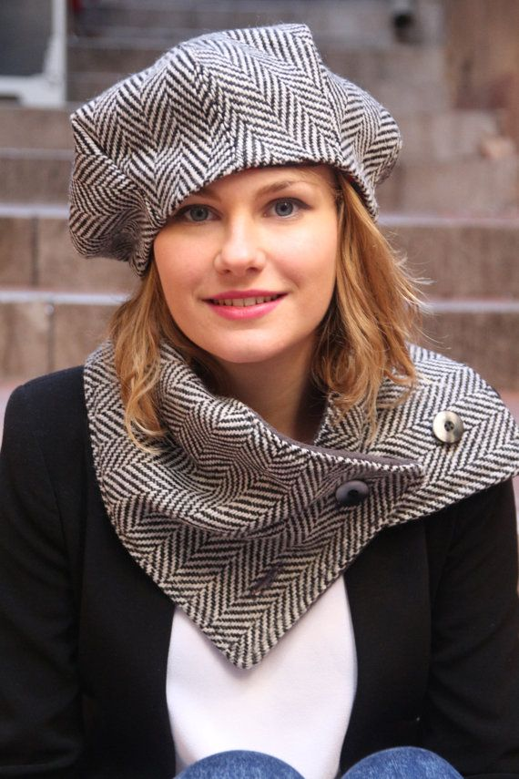 Womans hat and scarf set. French beret and scarf set in chevron wool fabric design. Unique and original delisa ensemble.