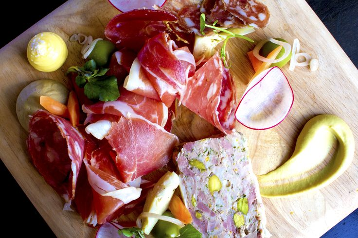 Charcuterie Plate....don't mind if I do!!! House made Charcuterie and Cured meats, House Pickles and Crusty Baguette.