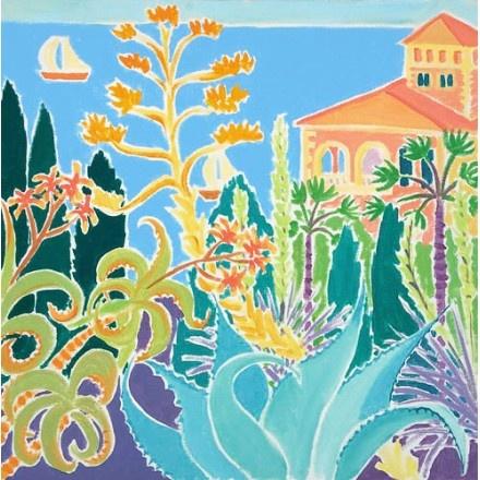 Royal Plants at the Hanbury Palace, Giardini Hanbury, La Mortola, Italy. Original Painting by Joanne Short