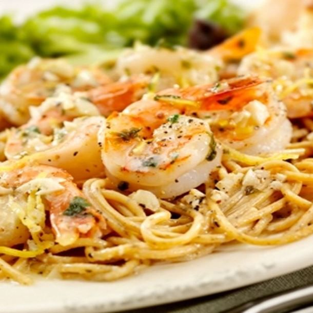 Spaghetti (ou linguine) aux crevettes et ricotta
