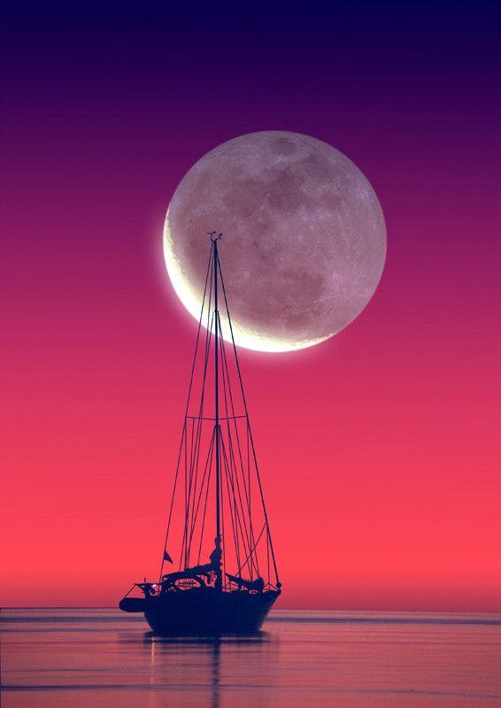 Moon Kiss!   ♥ ♥   www.paintingyouwithwords.comSky, Sailboats, Moon, Beautiful, Sailing Away, Photography, Moonlight, The Moon, Sailing Boats