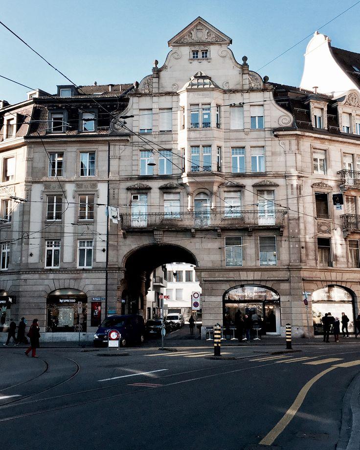 basel switzerland europe river rhine rhein view sunshine winter architecture arch market street marktgasse