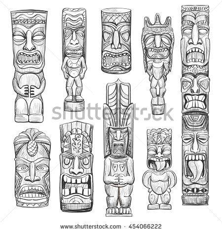 Vector collection of sketches Hawaiian tiki idols