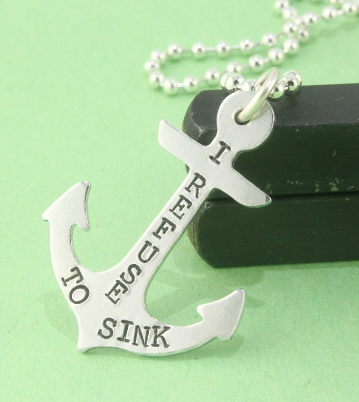 I Refuse To Sink Anchor Necklace  Handstamped by StampinOffThePath, $13.00