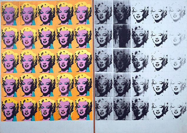 Andy Warhol, Marilyn Diptych, 1962, acrylic on canvas, 2054x 1448 mm (Tate) © The Andy Warhol Foundation for the Visual Arts, Inc. 2015