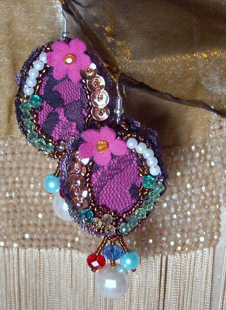 ORECCHINI  RICAMATI a MANO boucles d oreilles earrings Perle fiori strass Nuovi