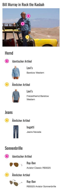 Jeans geht immer, das gilt auch für das klassische blaue Jeanshemd aus dem Traditionshaus Levi's des ehemaligen Musikmanagers Richie Lanz (Bill Murray). Die langen Ärmel bieten in der Wüste bei Kabul Schutz vor der Sonne. Und wenn es doch einmal zu warm wird, lässt sich das Jeansshirt durch die weißen Druckknöpfe schnell wieder ausziehen. Von den beiden praktischen Brusttaschen macht Lanz zwar keinen Gebrauch, sie gehören optisch aber trotzdem zu dem gelungenen Freizeit-Outfit dazu.