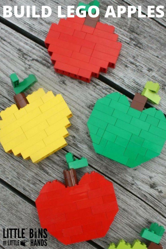 Build LEGO apples with basic bricks perfect for young LEGO fans. Great fall STEM activity building with LEGO! Fall LEGO activity that multiple ages can enjoy!