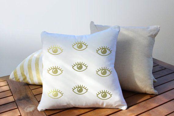 Ogen patroon kussen gouden ogen kussen Home Decor door LovelyPosters
