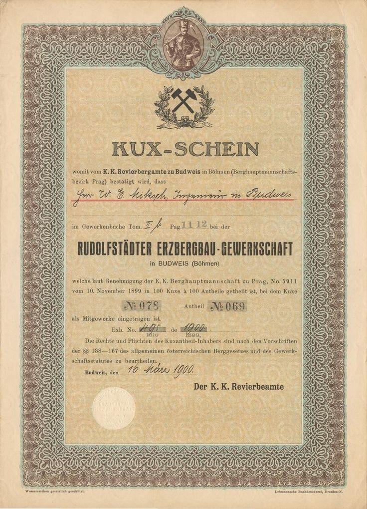 Rudolfstädter Erzbergbau-Gewerkschaft in Budweis (Böhmen), (Rudolfovské těžařstvo). Kuksový list. Budweis (České Budějovice), 1900. Doly na stříbro v Rudolfově a okolí.