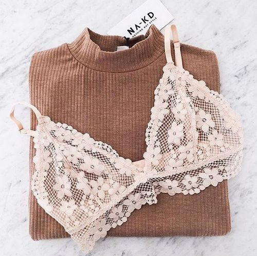Feminine lace bralette and a light sweater for spring time transitional weather