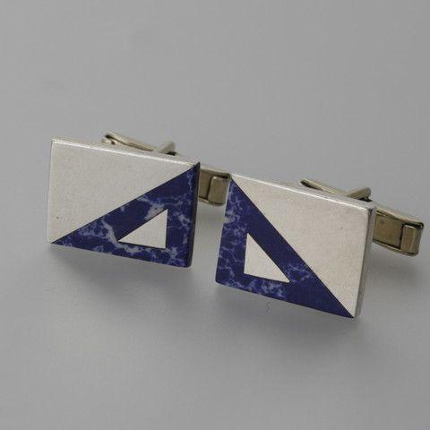 Sterling silver and lapis lazuli rectangluar cufflinks by Sky with Diamonds | Sky with Diamonds