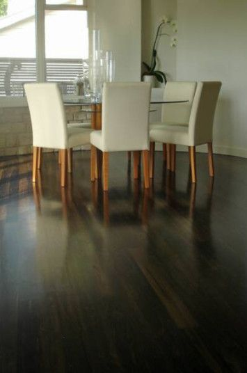 Black japan stain on cypress pine. Avalon