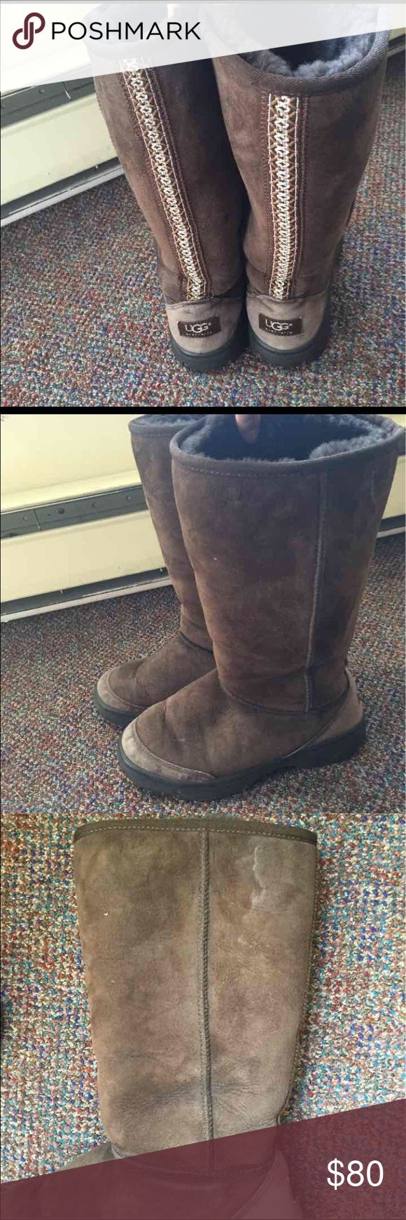 Ugg boots Size 7. Rubber sole.  Tribal design up the back of boot.  Still in good condition. Have some salt stains. Could easily be cleaned. UGG Shoes Winter & Rain Boots
