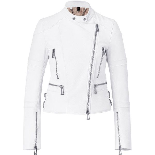 BELSTAFF White Leather Winfield Jacket ($3,600) ❤ liked on Polyvore