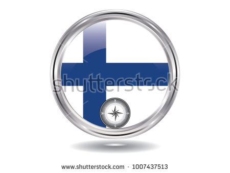 Finland flag - Chromed round icon, - compass - isolated on white background - illustration Vector illustration