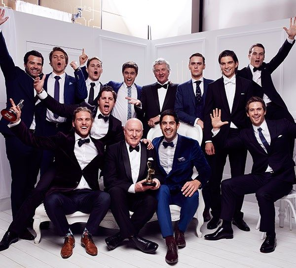 Nic celebrates a Logie win for Home And Away with his male cast mates!